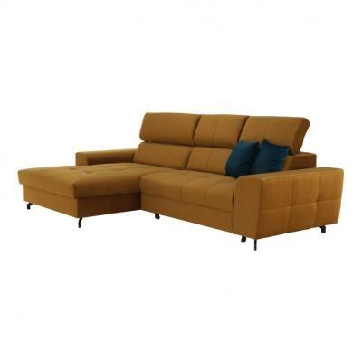 3 személyes kinyitható kanapé, balos, mustársárga - FANTASSIN